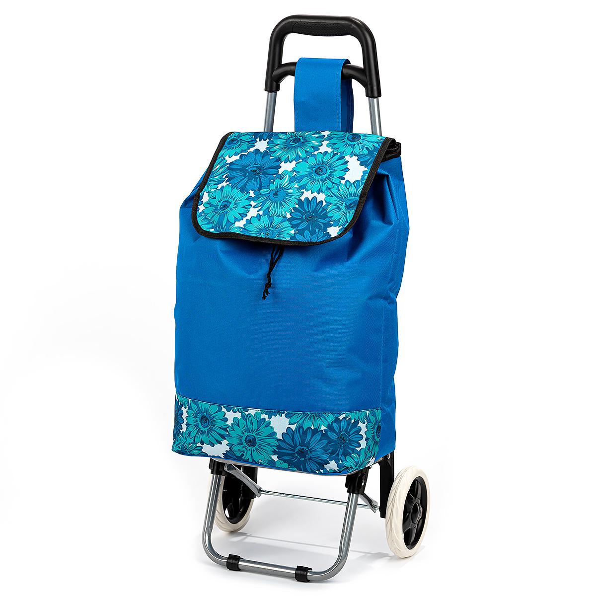Nákupná taška na kolieskach Kvety, modrá