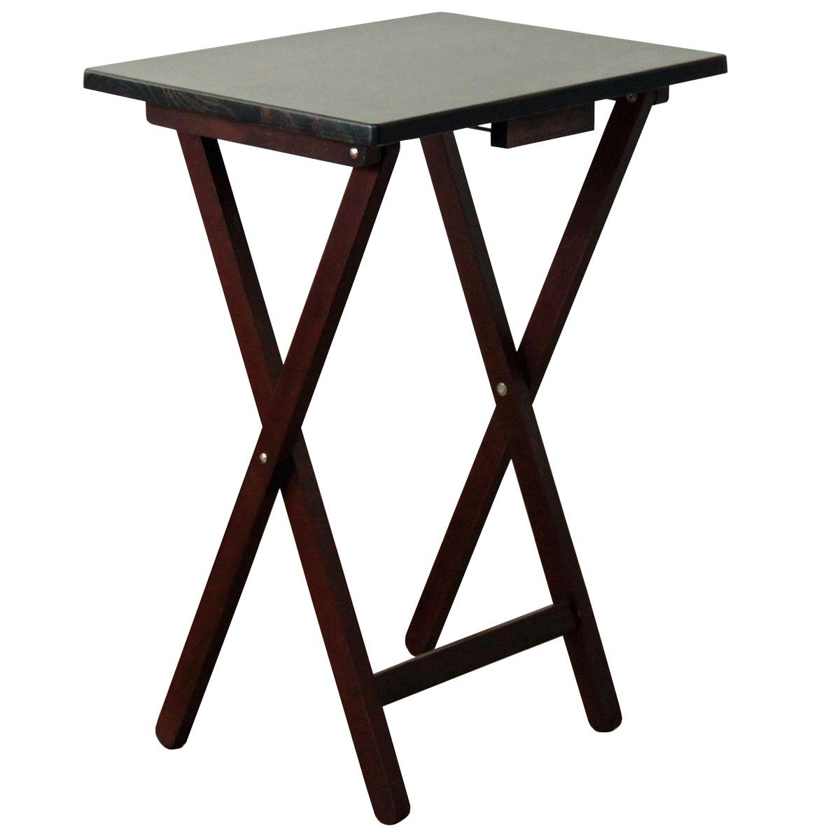Skladací stolík drevený, čiernohnedá