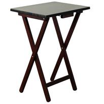 Skladací stolík drevený, čierno-hnedá