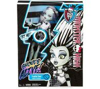 Monster High Oživlá příšerka Frankie Stein Mattel , bílá + černá