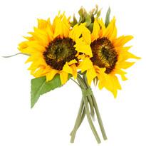 Buchet artificial Floarea Soarelui, galben, 26 cm