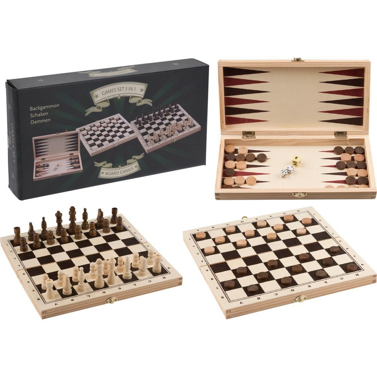 Soubor her v dřevěném boxu 3v1, 29 x 15 x 4,3 cm