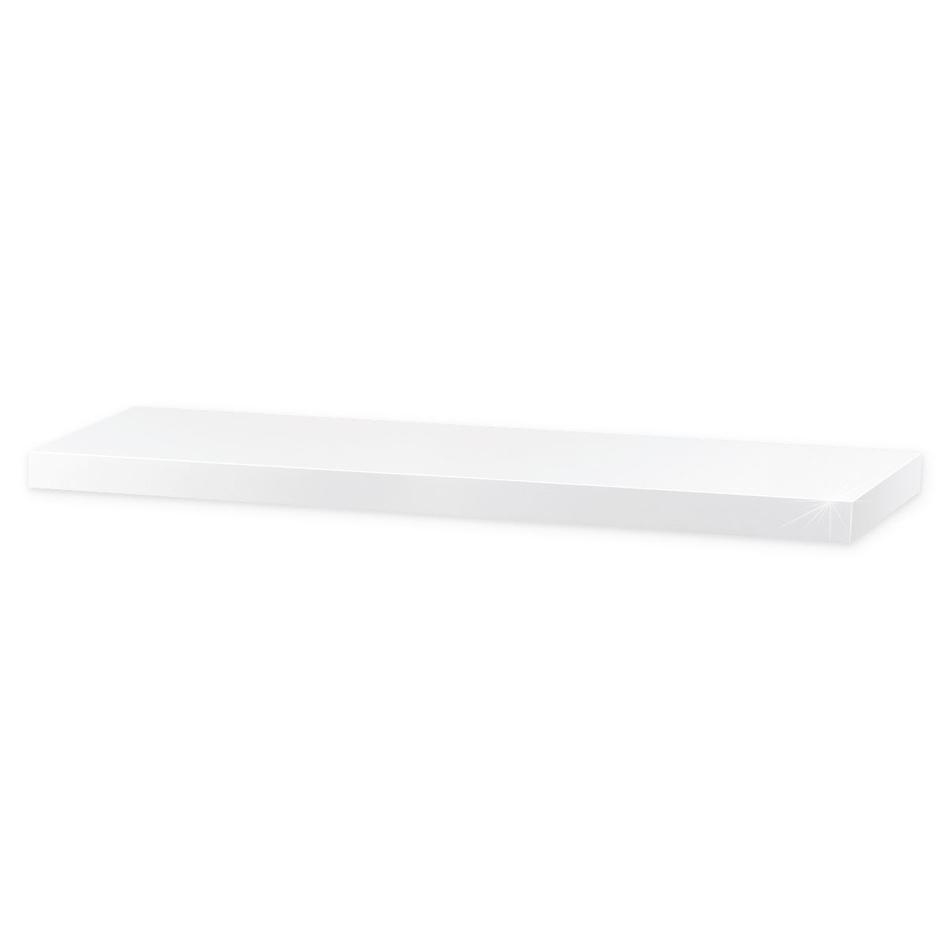 Nástěnná polička lesklá 80 cm, bílá, 80 cm