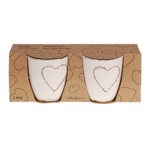 Sada kameninových hrnčekov Heart 150 ml, 2 ks, krémová