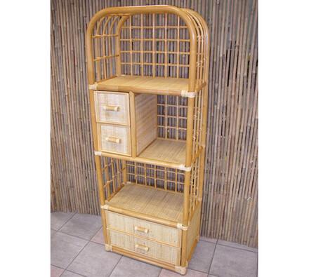 Ratanová skříňka 4 zásuvky světlý med, světle hnědá, 60 x 36 x 161 cm