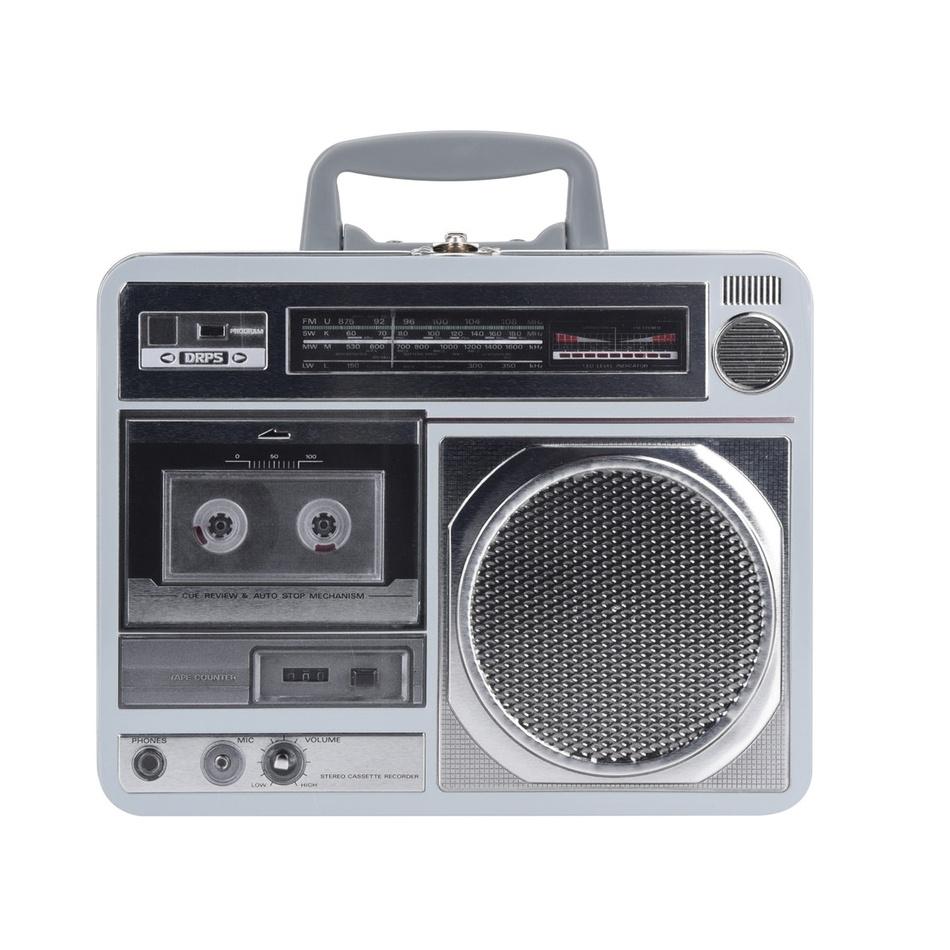 Plechová dóza Rádio, šedá