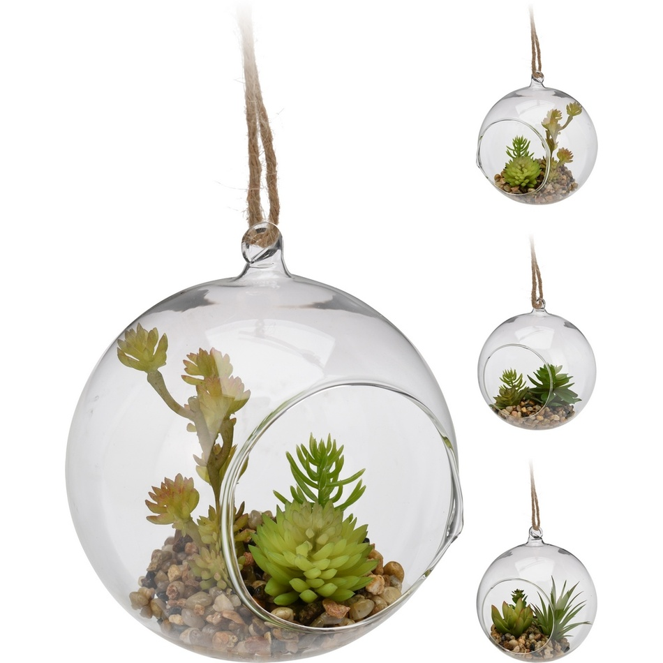 Dekoračná sklenená banka, 13 cm