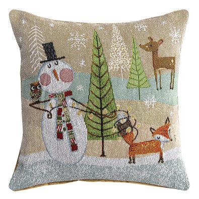 Vianočná obliečka Zvieratká hnedá, 40 x 40 cm