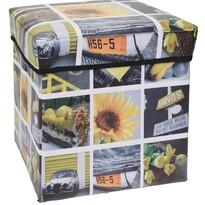 Sienna tároló doboz sárga, 30 x 30 x 30 cm