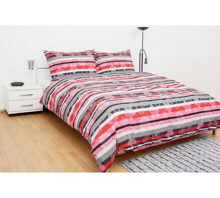 Krepové povlečení Jordan, šedorůžová, 140 x 200 cm, vícebarevná, 140 x 200 cm, 70 x 90 cm