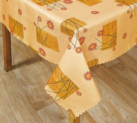 Teflonový ubrus Kytka, oranžová, 140 x 160 cm