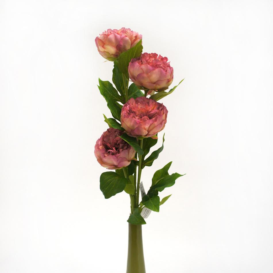 Umelá kvetina pivoňka, ružová, darčekové balenie 4 ks,
