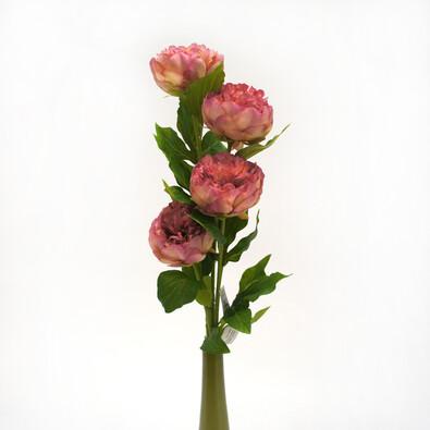 Umělá květina pivoňka růžová sada 4 ks