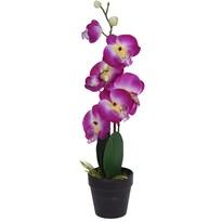 Mű orchidea virágtartóban, rózsaszín, 47 cm