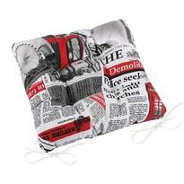 Pernă de scaun matlasată Ema Ziare roșu, 40 x 40 cm