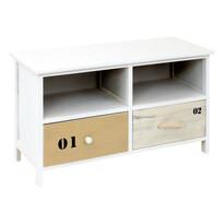 Drewniana ławka z szufladami Sofie, biały