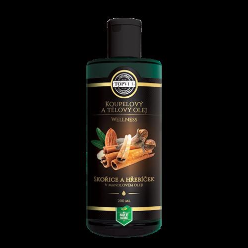 Produktové foto Koupelový a tělový olej skořice a hřebíček v mandlovém oleji 200 ml, Topvet