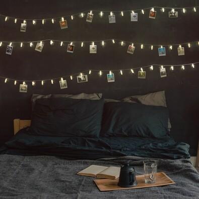 DecoKing fényfüzér fényképek számára meleg fehér, 20 LED