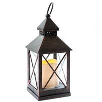 Lucerna s LED svíčkou na baterie Nancy 10 x 23,5 cm, černá