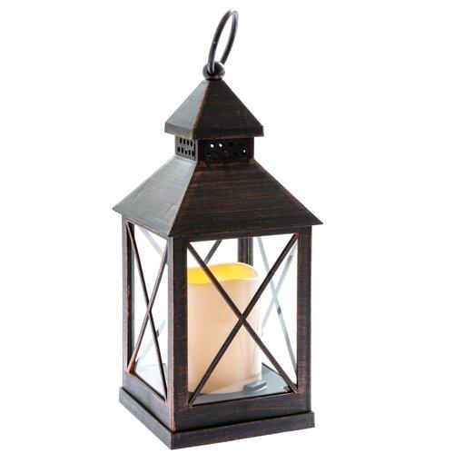 Nancy lámpás elemes LED gyertyával 10 x 23,5 cm, fekete