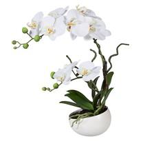 Mű orchidea virágtartóban, fehér, 42 cm