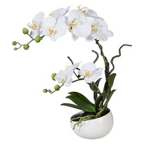 Umělá Orchidej v květináči bílá, 42 cm