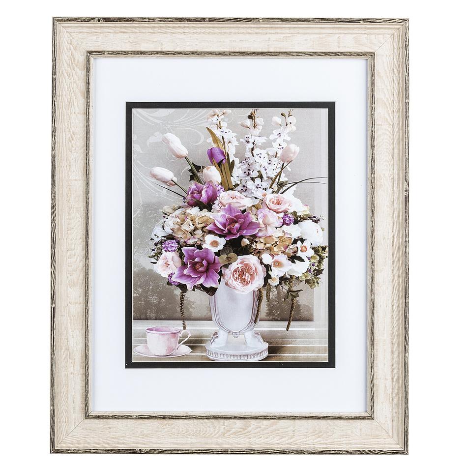 Obrázek kytice květin a růžový šálek Rose