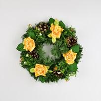 Mindenszentek koszorú rózsával, 25 cm, sárga