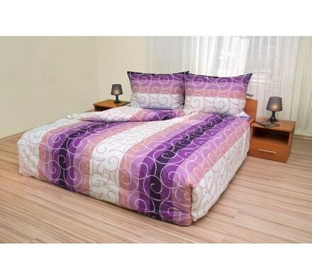 Bavlněné povlečení Spirály fialové, 220 x 200 cm, 2 ks 70 x 90 cm