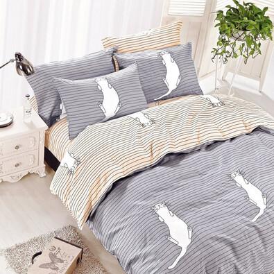 Lenjerie de pat DecoKing Kitty Bed, gri, 135 x 200 cm, 80 x 80 cm