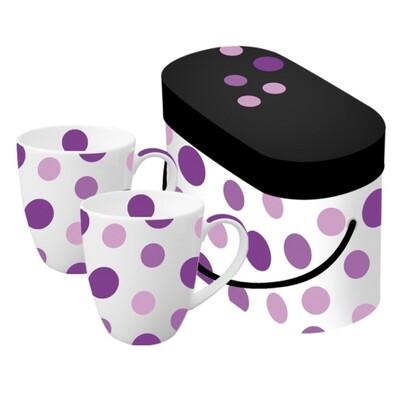 Hrnek fialový puntík, 2 ks, černá + fialová