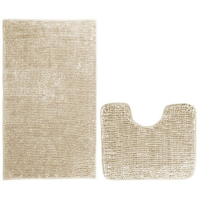 AmeliaHome Komplet dywaników łazienkowych Bati beżowy, 2 szt. 50 x 80 cm, 40 x 50 cm