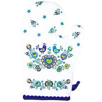Folklór edényfogó, kék, 17 x 28 cm