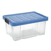 Tontarelli Úložný box s víkem Puzzle Clips 14 l, transparentní/modrá
