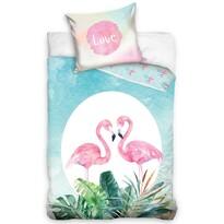Pościel bawełniana Zakochane flamingi, 140 x 200 cm, 70 x 90 cm