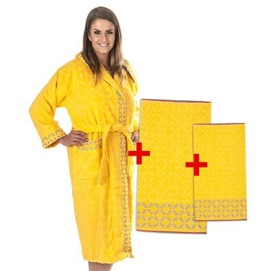 4Home výhodná sada Rainbow župan, osuška a ručník, žlutá