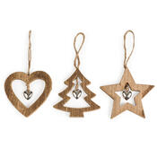 Dřevěná vánoční dekorace Trio hnědá, 3 ks