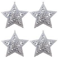 Sada závěsných ozdob Shiny Hvězda stříbrná, 4 ks
