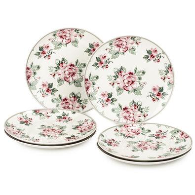 Altom 6-dielna sada dezertných tanierov Paris Rose, 20 cm, biela