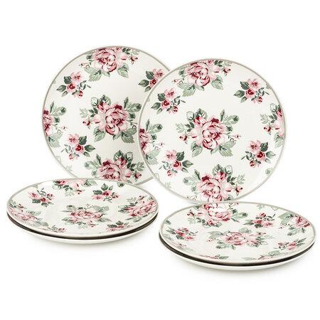 Altom Paris Rose 6-részes desszertes tányér készlet, 20 cm, fehér