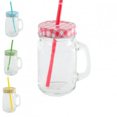 STRAW sklenice s víčkem a brčkem