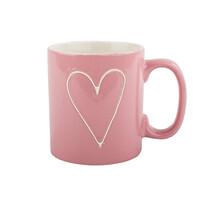 Cană ceramică Heart 630 ml, roşu deschis
