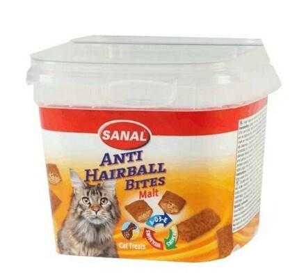 SANAL anti-hairball bites, plněný snack proti chom