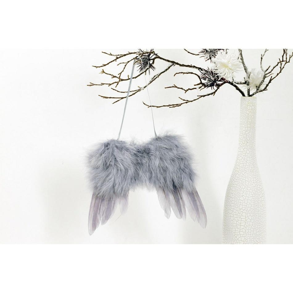 Sada vánočních ozdob Andělská křídla šedá, 4 ks