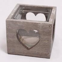 Dřevěný svícen se sklem Srdce, hnědá