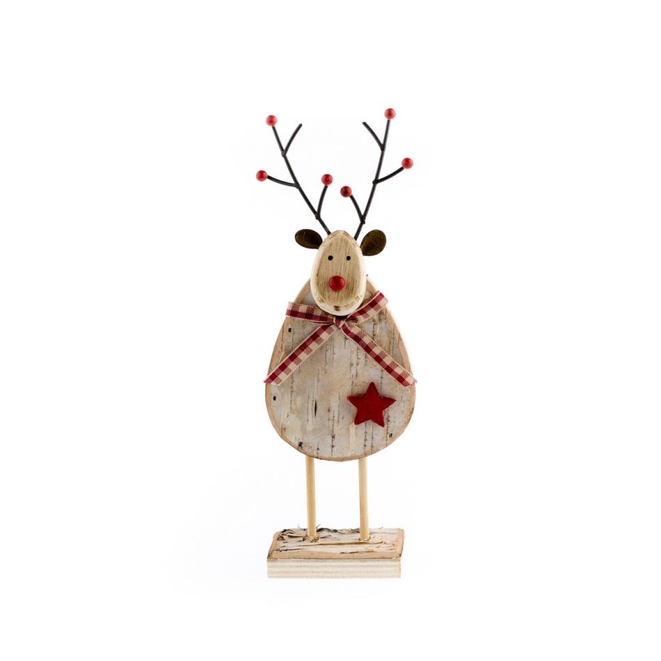 Dřevěná dekorace Sob s mašlí, červená