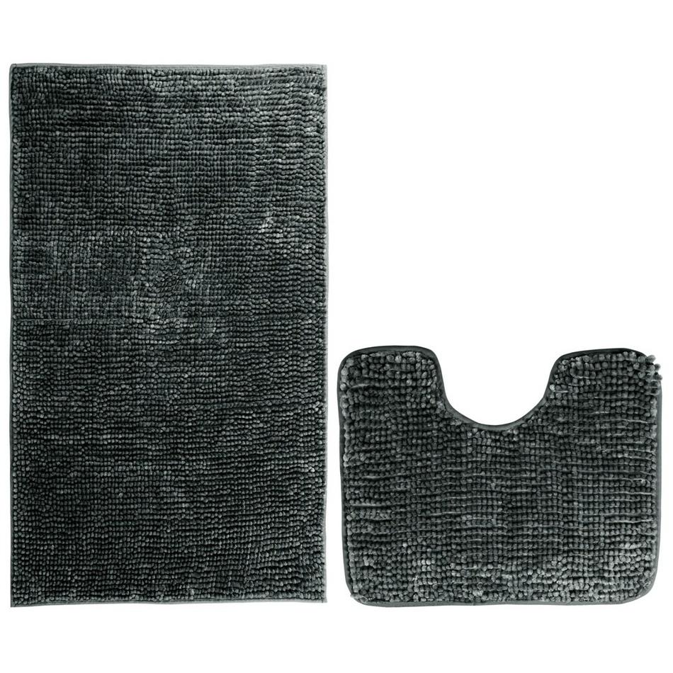 AmeliaHome Sada koupelnových předložek Bati černá, 2 ks 50 x 80 cm, 40 x 50 cm
