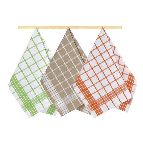 Kuchynská utierka Kocka zelená, oranžová, béžová, 50 x 70 cm, sada 3 ks