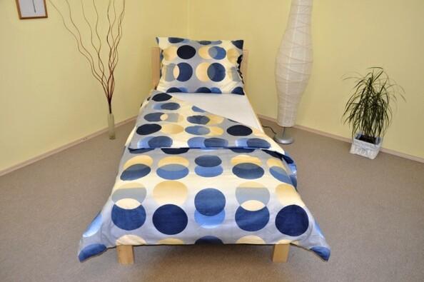 Flanelové povlečení Lýdie 140x200, 70x90 cm, béžová + modrá, 140 x 200 cm, 70 x 90 cm