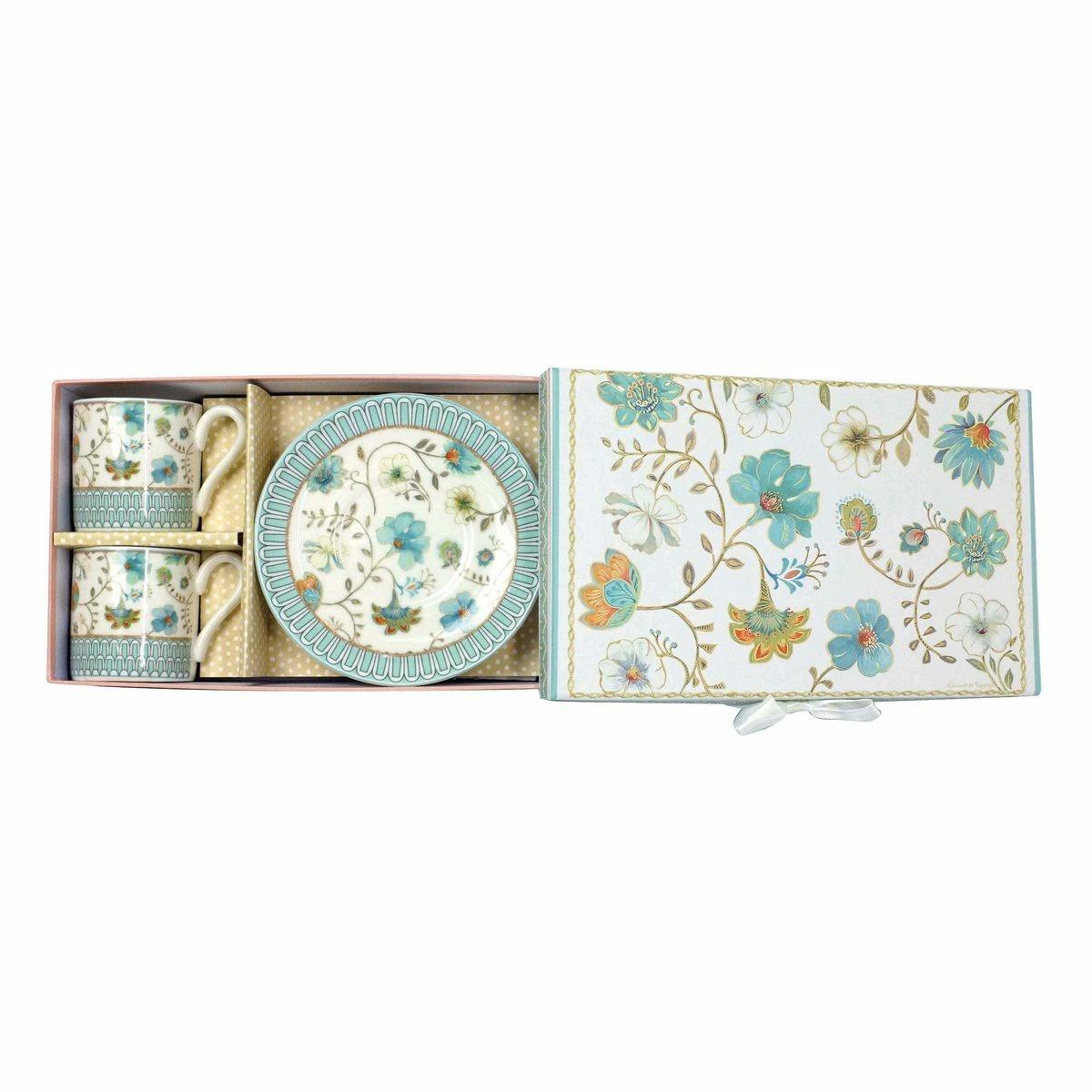 Dárková sada porcelánového šálku s podšálkem Modré květiny 100 ml, 2 ks